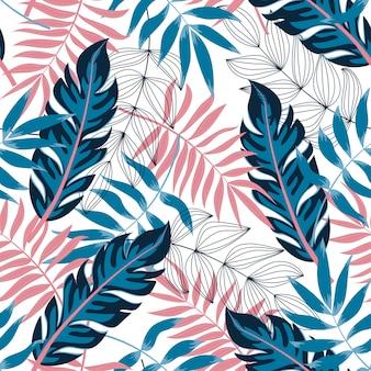 Modello senza cuciture di tendenza con foglie e piante tropicali