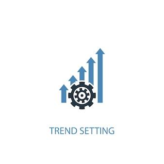 Concetto di impostazione di tendenza 2 icona colorata. illustrazione semplice dell'elemento blu. disegno di simbolo di concetto di impostazione di tendenza. può essere utilizzato per ui/ux mobile e web