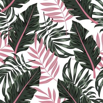 Tendenza estate seamless con piante tropicali