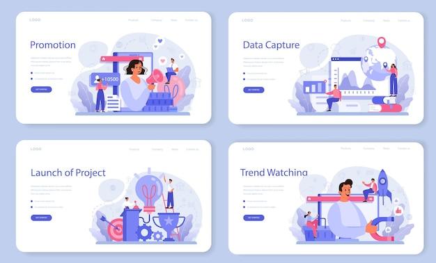 Layout web di trend watcher o set di pagine di destinazione. specialista nel monitoraggio dell'emergere di nuove tendenze aziendali. analisi delle tendenze e promozione del progetto.