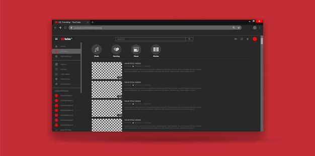 Pagina di tendenza del modello di ux dell'interfaccia utente di youtube del design del sito web