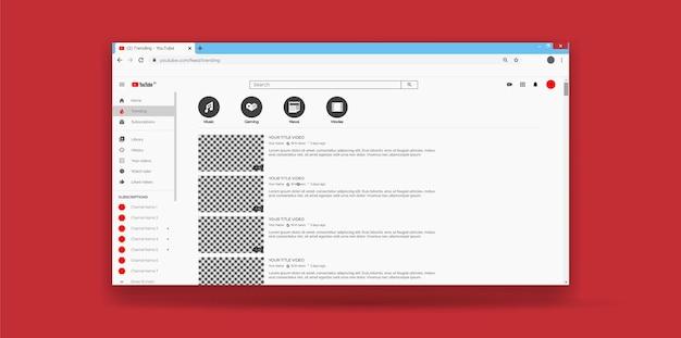 Pagina di tendenza del modello di ux dell'interfaccia utente di youtube del sito web
