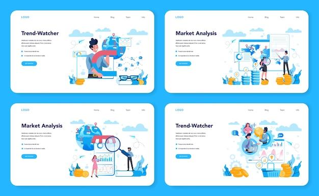 Banner web trendwatcher o set di pagine di destinazione