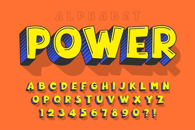 Design comico 3d alla moda, alfabeto colorato, carattere tipografico.