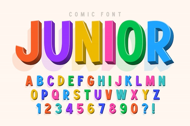 Carattere comico alla moda 3d, alfabeto colorato, carattere tipografico