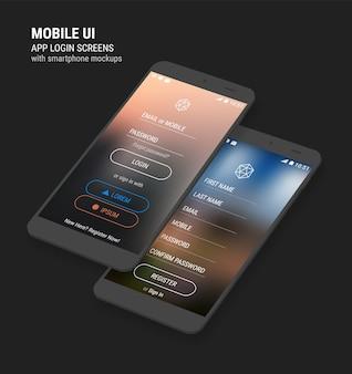 Modelli di app di interfaccia utente mobile reattivi 3d alla moda di accesso e registrazione