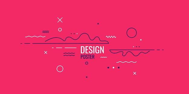 Fondo geometrico di arte astratta alla moda con stile piatto e minimalista. manifesto di vettore con elementi per il design