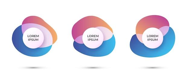 Set di distintivi astratti alla moda banner a colori fluidi