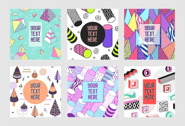 Modelli di poster astratti alla moda di memphis con posto per il vostro testo. sfondi di bandiere geometriche hipster 80-90 stile vintage.