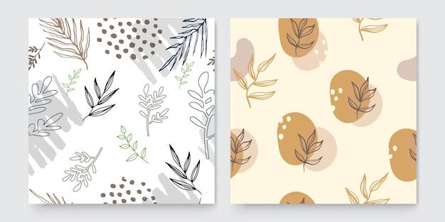 Modelli di arte quadrata astratta alla moda con elementi floreali e geometrici. adatto per post sui social media, app mobili, design di banner e annunci web o internet. sfondi di moda