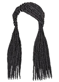 Cornrows alla moda capelli lunghi africani. 3d realistico. moda stile di bellezza.