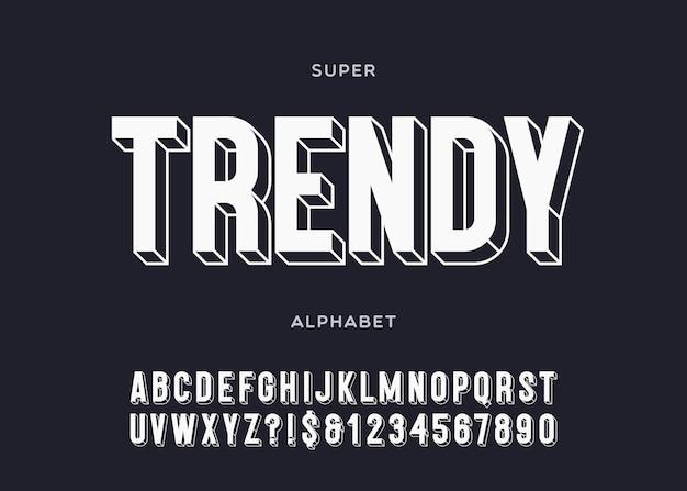 Alfabeto alla moda 3d tipografia in grassetto stile sans serif per poster