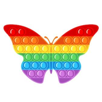 Giocattolo sensoriale antistress alla moda pop it fidget in stile piano isolato su priorità bassa bianca. giocattolo a mano a forma di farfalla per bambini con bolle di spinta. illustrazione vettoriale.
