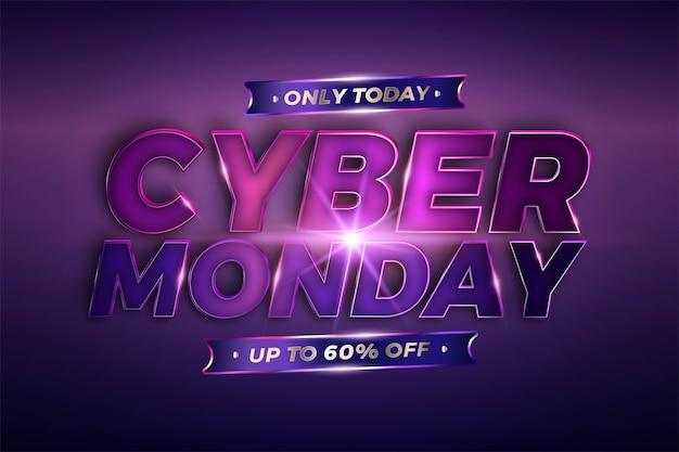 Trendy banner promozione vendita cyber monday con realistico metallo viola rosa