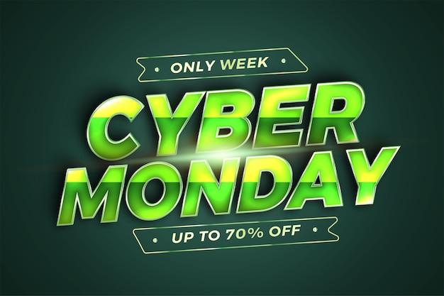 Trendy banner promozione social media online vendita cyber monday con modello realistico d green