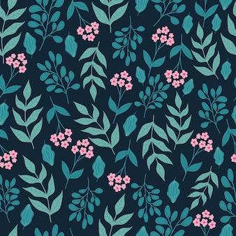 Modello senza cuciture botanico alla moda con fiori e foglie