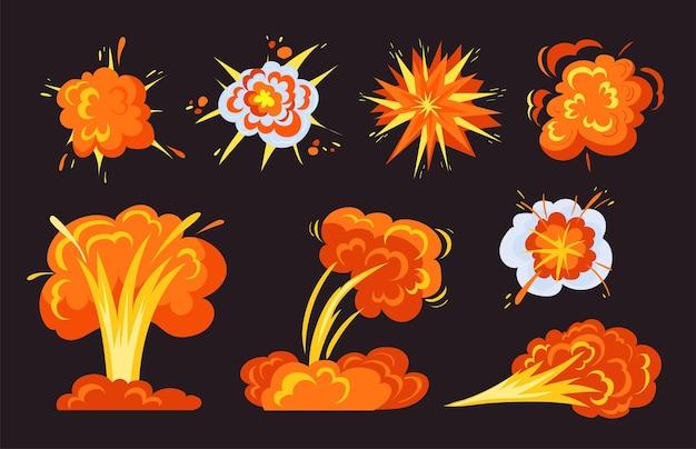Raccolta di immagini piatte di esplosioni di bombe luminose alla moda