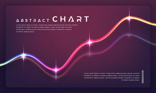 Diagrammi di grafici alla moda e grafici su sfondo scuro.