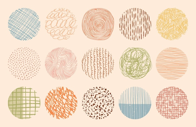 Trame di cerchi di colore alla moda realizzate con inchiostro, matita, pennello. insieme di modelli disegnati a mano. forme geometriche doodle di macchie, punti, tratti, strisce, linee.