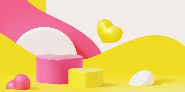 Scena del podio geometrico astratto colorato alla moda per la presentazione del display del prodotto di san valentino