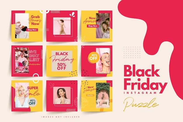 Trendy colorato venerdì nero social media puzzle modello