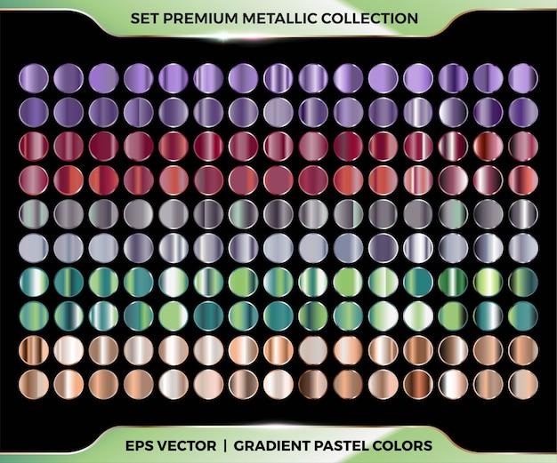 Mega set di combinazioni di colori alla moda con sfumature viola, marrone, argento, verde e oro di tavolozze pastello in metallo per modelli di etichette con copertina a nastro