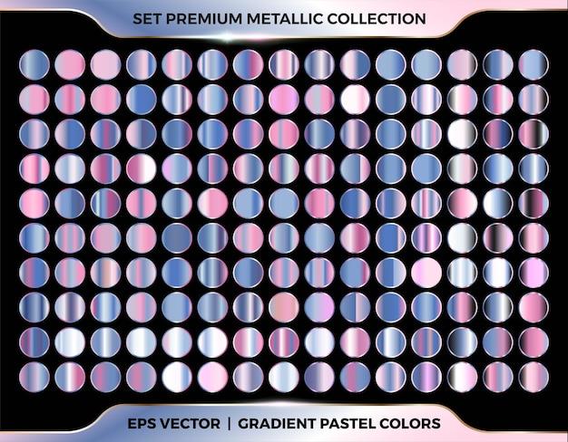 Mega set di combinazioni di colori pastello sfumati in oro rosa, rosa, viola e azzurro alla moda collezione di tavolozze in metallo pastello per modelli di etichette per copertine con nastro a cornice