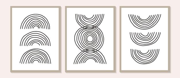 Arte della parete astratta contemporanea alla moda, set di 3 stampe d'arte boho, forme minime nere su beige. composizione creativa dipinta a mano artistica minimalista geometrica di metà secolo.