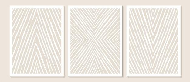 Arte della parete astratta contemporanea alla moda set di 3 stampe d'arte boho forme nere minimali su beige