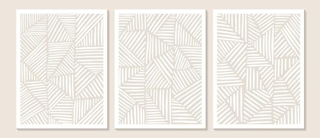Arte della parete astratta contemporanea alla moda, set di 3 stampe d'arte boho, forme bianche minimali su beige