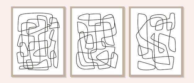 Arte della parete astratta contemporanea alla moda, set di 3 stampe d'arte della linea boho, forme minime nere su beige. composizione creativa dipinta a mano artistica minimalista geometrica di metà secolo.