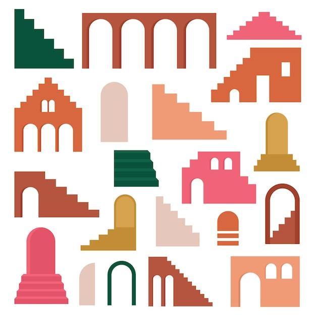Set contemporaneo alla moda di architettura di geometria estetica