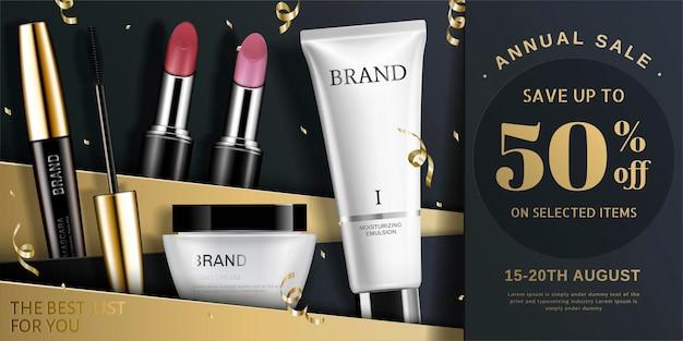 Annunci di prodotti cosmetici alla moda in tonalità oro e nero, stelle filanti che cadono dal cielo nell'illustrazione 3d