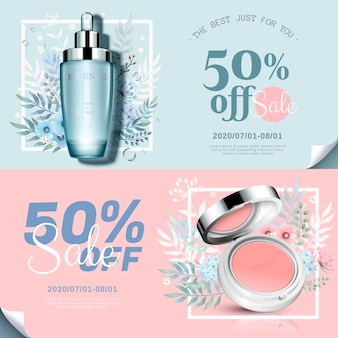 Banner di prodotti cosmetici alla moda con fard sulle guance e bottiglia di essenza in illustrazione 3d, decorazioni floreali disegnate a mano ad acquerello