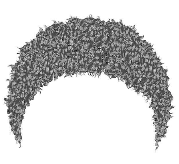 Capelli grigi corti africani ricci alla moda. 3d realistico. afro