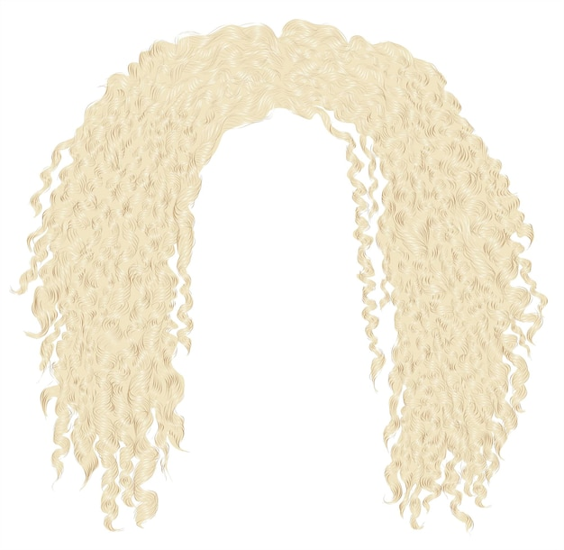 Capelli biondi africani arruffati ricci alla moda. 3d realistico. unisex afro