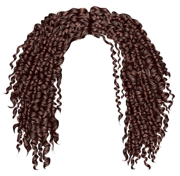Capelli castani africani arruffati ricci alla moda. realistico. moda bellezza stile .unisex donne men.afro