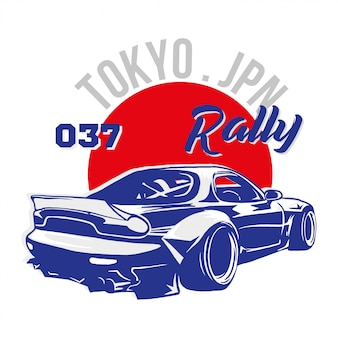 Stampa grafica di moda alla moda per l'abbigliamento della maglietta con l'auto sportiva molto veloce tokyo japan blue per la gara di speed rally. illustrazione di stile moderno per felpa di marca bomber street wear