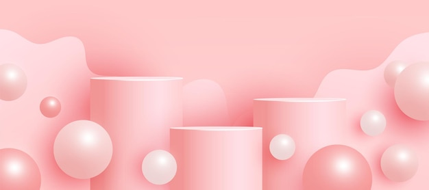 Scena vuota alla moda con podio o piattaforma, forme geometriche a bolle volanti scena minimale con forme geometriche per la presentazione del prodotto.