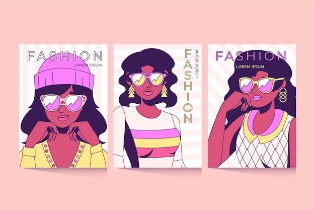 Set di copertine per ritratti di moda alla moda