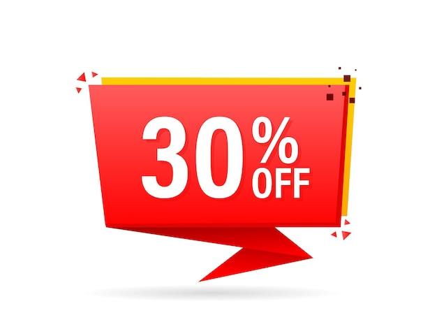 Pubblicità piatta alla moda con badge piatto rosso con sconto del 30% per il design promozionale