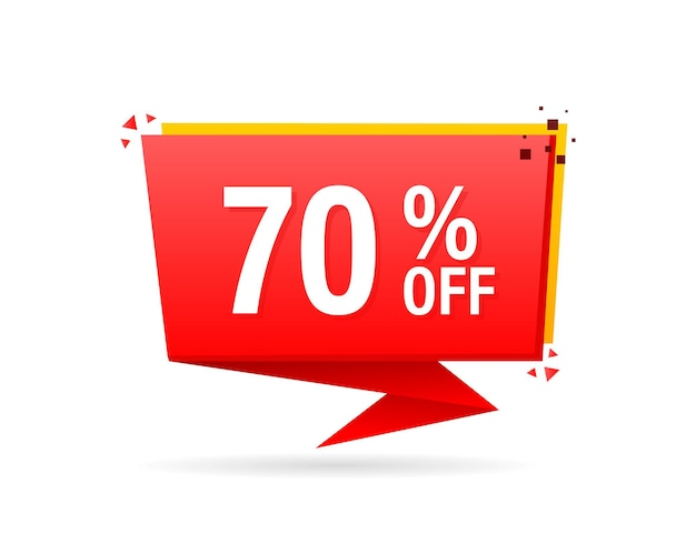 Pubblicità piatta alla moda con distintivo piatto rosso del 70% di sconto per il design promozionale