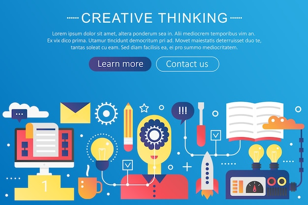 Colore gradiente piatto alla moda pensiero creativo, nuova bandiera del modello di concetto di idea con icone e testo