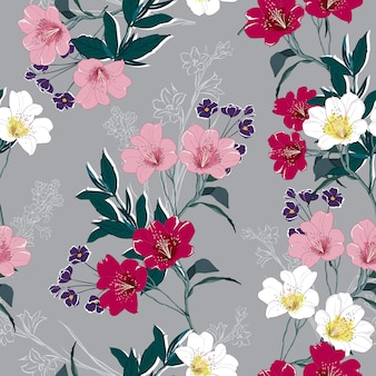 Motivo floreale alla moda in molti tipi di fiori. seamless pattern