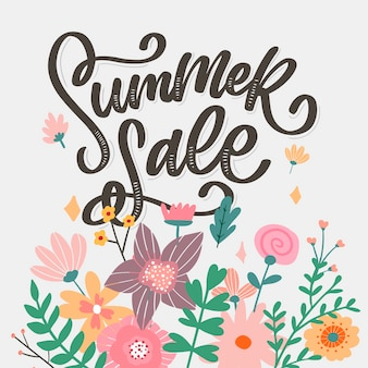 Modello floreale alla moda. fiori estivi e illustrazione dell'iscrizione di vendita di estate.