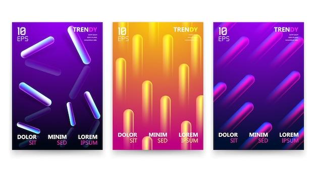 Set di design di poster a4 con gradiente fluido alla moda