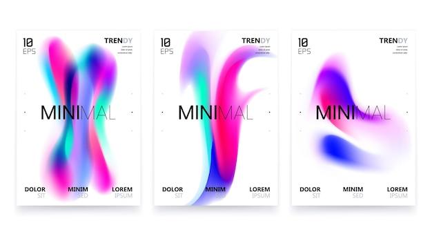 Set di design di poster a gradiente fluido alla moda