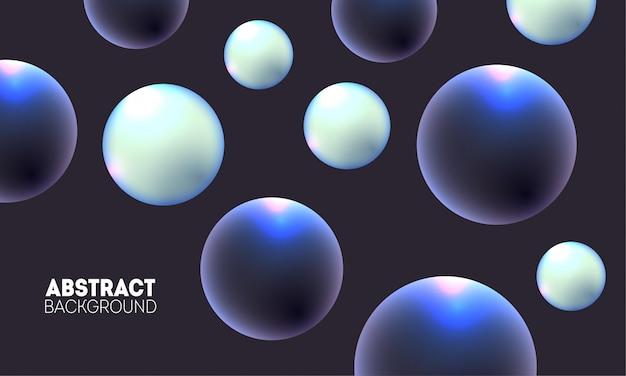 Sfondo futuristico alla moda con sfere 3d dinamiche. composizione di bolle lucide scure e chiare