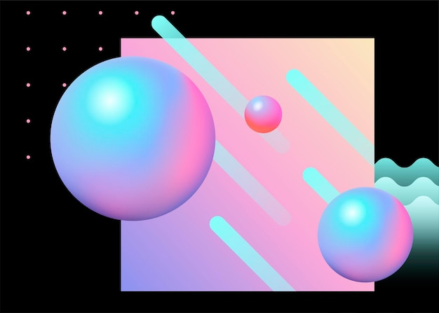 Sfondo geometrico alla moda con sfera e elemento di linea in tonalità rosa e azzurro