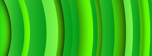 Sfondo verde geometrico alla moda con forme di cerchi astratti. disegno della bandiera. design futuristico del modello dinamico. illustrazione vettoriale
